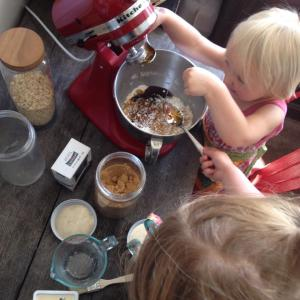 Measuring the ingredients for Anzacs from Australia.