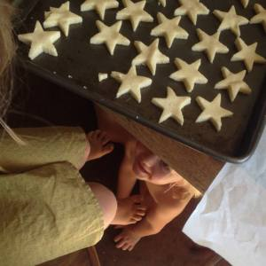 Elka sneaking Shortbread from Scotland (only about half made it to the oven).