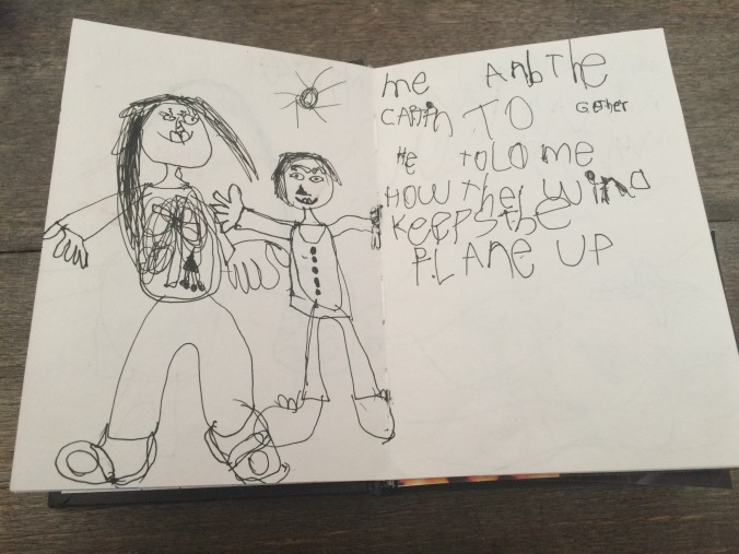 """Me and the Captain together. He told me how the wind keeps the plane up"" drawn by Anica just after her visit to the pilot."
